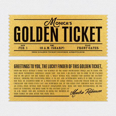 Photo of Willy Wonka Golden Ticket